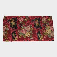 1940's Bigelow Small Carpet Remnant-Fuchsia & Black with Roses
