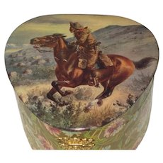 ON HOLD FOR B-DO NOT BUY-Antique Celluloid Western Pony Express Cowboy Collar Box