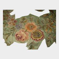 Antique Chenille & Metallic Floral Applique-Large