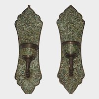 Pair of Vintage Mosaic Stone & Brass Wall Candle Holders