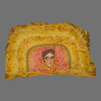 1920's French Doll Face Ribbon Pillow with Glitter Headband