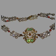 Antique Czech Jeweled Belt-Could Be Used as Necklace-33""