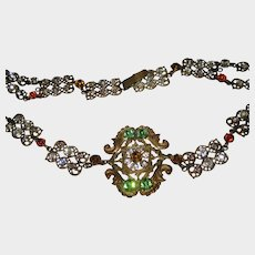 """Antique Czech Jeweled Belt-Could Be Used as Necklace-33"""""""