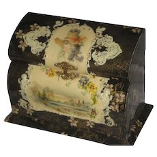Antique Celluloid Upright Box with Lady & Embossed Cherubs