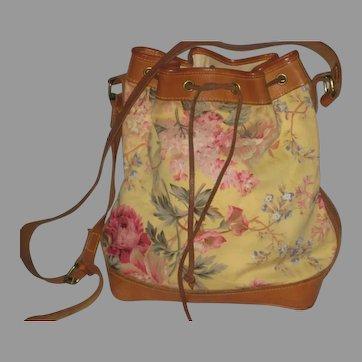 1980's Ralph Lauren Yellow Floral Bucket Bag Shoulder Purse