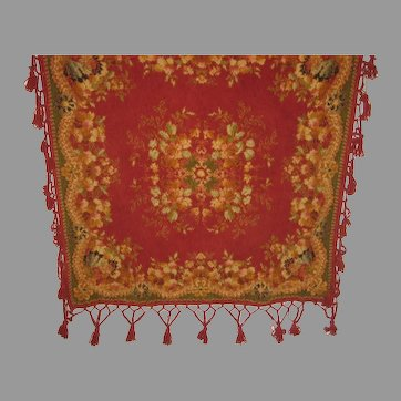 Antique Chenille Table Cover Throw with Tassels