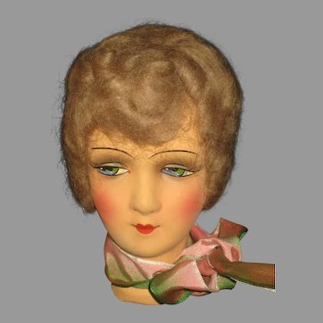 1920's German Boudoir Doll Head with Mohair Wig-Never Used