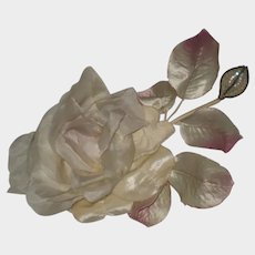 Deco Rose Millinery Flower with Hand Beaded Sequin & Beaded Leaf