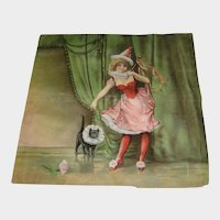 Antique Litho Pillow with Black Cat & Pretty Girl in Costume