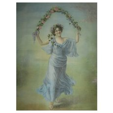 Antique Litho Cloth Picture of Beautiful Maiden with Garland of Roses