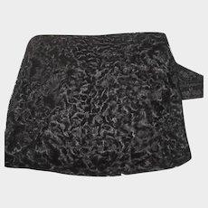 Vintage Large Black Wool Curly Lamb Fur Hand Muff