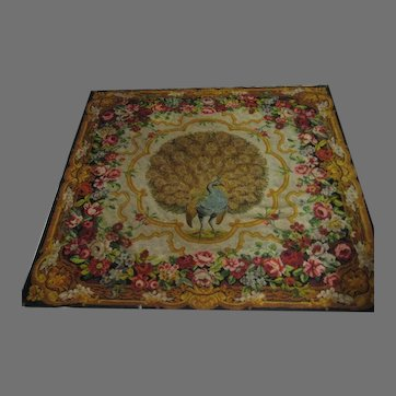 Antique Wool Chenille Peacock & Roses Throw Wall Hanging