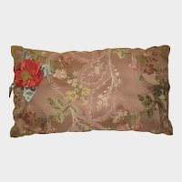 1930's French Silky Floral Brocade Boudoir Pillow