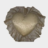 1930's Carlin Comforts Heart Shaped Tambour Net Lace Angel Pillow
