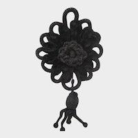 Victorian Black Cord & Chenille Tasseled Applique