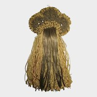 C. 1900's Gold Metallic & Silky Thread Tasseled Applique