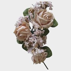 Vintage Pink Roses & Tiny Flowers with Pearls Millinery Corsage
