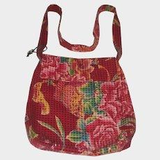 1990's Amy Chan Hawaiian Floral Mosaic Tile Shoulder Bag Purse