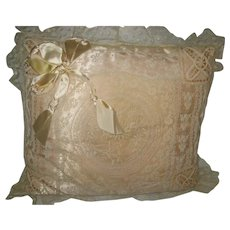 Vintage French Normandy Lace Pillow with Ribbon Bow