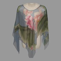 Vintage Floral Silk Open Sleeve Poncho Style Top