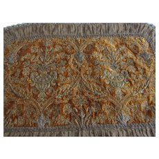 19th C. French Velvet, Beaded & Metallic Embroidered Runner or Pillow Top with Urns