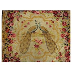 Antique Double Peacock Rug or Wall Hanging with Roses