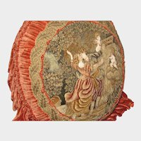 Huge 19th C. French Chenille & Silk Hand Embroidered Pillow-Lovers & Cupids