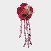 Vintage Raspberry Velvet Millinery Flower with Lavender Chenille Dangles