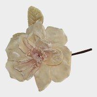 Vintage Pinkish Cream Velvet Millinery Rose-Made in France Label