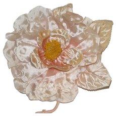 Large Vintage Petal Pink Millinery Flower-Silk & Velvet