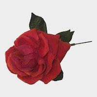 Vintage Millinery Red Velvet & Silk Rose - Made in France Label