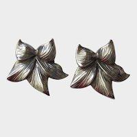 Vintage Sterling Silver Clip on Earrings-Large