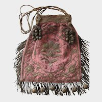 Antique French Evening Bag with Heavy Metallic Embroidery, Tassels & Fringe
