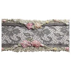 Antique French Ribbon Work, Silk Appliques & Lace Dresser Box
