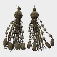 Pair C. 20's French Gold & Silver Metallic Tassels with Balls