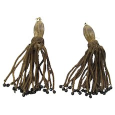 Pair C. 20's French Metallic Gold Tassels with Black Beads