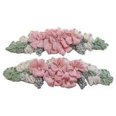 Pair Vintage French Ribbon Work Appliques