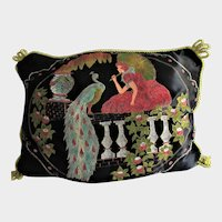 Vintage Pillow-Girl with Parasol & Peacock