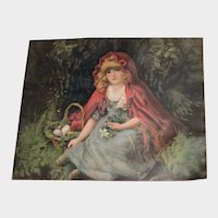 Antique Chromo Pillow Top with Little Red Riding Hood