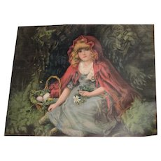 """HOLD FOR """"M""""-Antique Chromo Pillow Top with Little Red Riding Hood"""