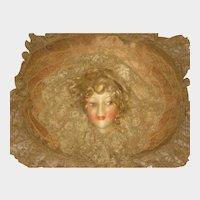 1920's Gluckin Doll Face Lace Boudoir Pillow with Hair