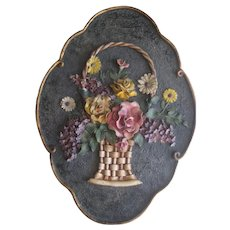 1930's Gesso Barbola Basket of Flowers Wall Plaque