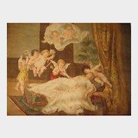 C 1900 Chromo Pillow Top THE WEDDING DREAM with Lady, Cherubs, Angels, Babies & Bear Rug
