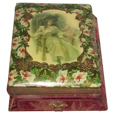 Antique Celluloid Music Photo Album-Young Lady & Gold Embossing