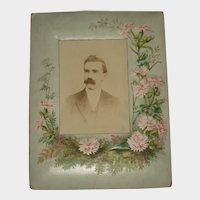 Antique Pressed Paper Frame with Pink Flowers-Cabinet Card with Man
