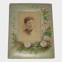 Antique Pressed Paper Frame with Pink Flowers-Lady Cabinet Card