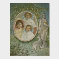 Antique Pressed Paper Embossed Frame-Maiden, Fawn, Lemons with Photo of Triplets