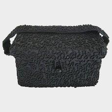 Vintage K & G Charlet Black Hand Beaded Box Style Purse