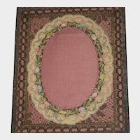 Antique French Metallic & Silk Ribbon Roses Frame-Mint