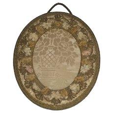 Antique French Silk Ribbon Work, Metallic Trim & Brocade Oval Frame
